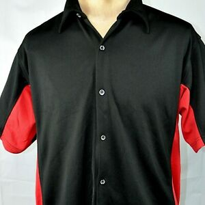 Toyota DryTech Color Block Button Front Performance Shirt XL Black Red Boardroom