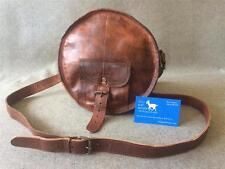 "Handmade Goat Leather PPR 8.5"" Round Purse Shoulder Bag Billy Goat Designs"