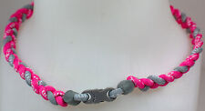 "New 20"" Custom Clasp Braided Sports Hot Pink Gray Grey Tornado Necklace Neon"