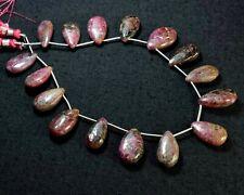 21-11K Corundum Natural Gemstone Long Pear Faceted Bead 194Ct 10x19-13x20mm 16Pc