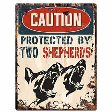 PP2080 CAUTION PROTECTED BY TWO SHEPHERDS Plate Chic Sign Home Store Door Decor