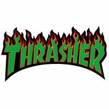THRASHER SKATEBOARD MAGAZINE FLAME STICKER GREEN NEW AUSTRALIAN SELLER KINGPIN