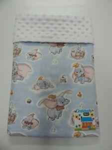 Dumbo Blanket Classic Suit Bassinet Pram Crib 80cm x 60cm Minkee Dot Back