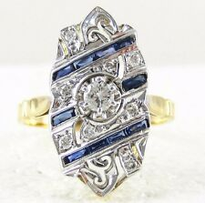 Antique French Art Deco Diamond Sapphire Engagement Gold Ring Size 6