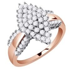 Ring 18K Rose Gold Plated Round Simulated Diamond Cluster Engagement