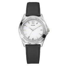 New Authentic GUESS Women Silver-tone Black Silicone Watch U75032L2 new with tag