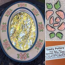 Vintage Trinity Pottery Glazed Enamel Floral Wall Art Mirror Made In USA Wisc