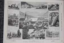 Affichage Thun Et Environnement Thoune Gravure sur Bois De 1876 Château Schadau