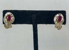 Outstanding 14k Yellow Gold Natural Ruby & Diamond Earrings