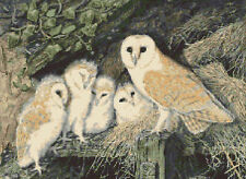 "Barn Owl Family Full Counted Cross Stitch Kit 16"" x 12"" Wildlife Birds Free P&P"