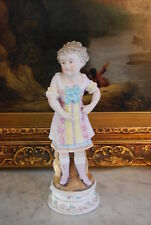WONDERFUL VICTORIAN COLORED BISQUE FIGURINE OF A YOUNG LADY IN PERIOD DRESS
