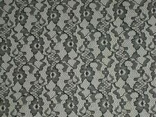 Black lace fabric floral material mesh textile 55 wide by the yard continuous