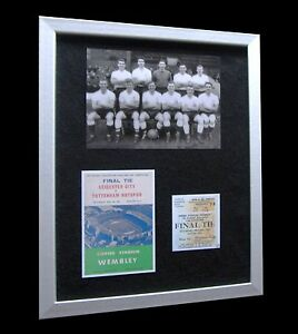 TOTTENHAM / SPURS 1961 FA CUP LTD Numbered FRAMED DOUBLE+EXPRESS GLOBAL SHIPPING