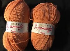 LOT 2 100gm balls of TANGERINE SIRDAR SUPERSOFT ARAN knitting yarn #0897