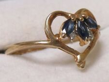 10k Yellow Gold Sapphire and Diamond Marquise Ring Size 7.25