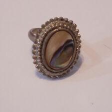 Vintage Ring: abalone shell & silver tone base adjustable size 6.5 (86)