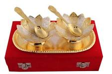 Gold & Silver Plated Floral Shaped Brass Bowl Set of 5 Pcs With Valvet Box Pack.