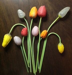 Antique Blown Glass German Tulip Flowers