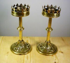 Pair Antique Brass Arts & Crafts Candlesticks