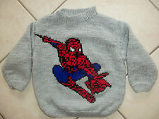 SPIDERMAN  PULL TRICOT MAIN ET REBRODE MAIN TAILLE 3 ANS