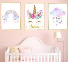 Unicorn Personalised Name Nursery Prints, Baby Girl kids Bedroom Art 3 pictures