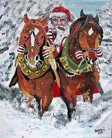 Cigar Santa Christmas Original Art Painting DAN BYL Modern Contemporary 4x5 ft