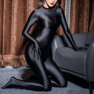 Women Satin Glossy Catsuit Oil Shiny Wetlook Bodysuit Jumpsuit & 5 Finger Gloves
