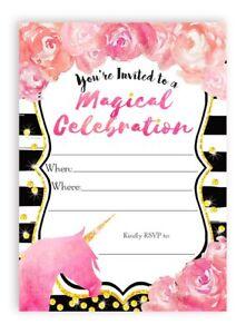 Unicorn Watercolor Flower LARGE Invitations - 10 Invitations + 10 Envelopes