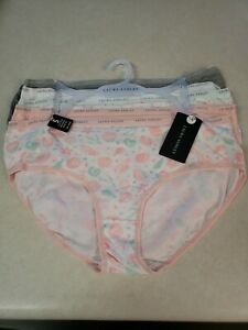 Laura Ashley 5 Pk Hipster Cotton Spandex Panties White Floral & Solid Sz XL