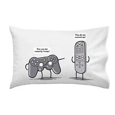 Controlling Video Game Controller and TV Remote Arguing Single Pillow Case Soft