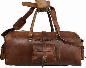 Weekend overnight bag Genuine Sustainable Leather large vintage duffle travel