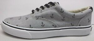 Sperry Size 8 Gray Black Anchor Sneakers New Mens Shoes