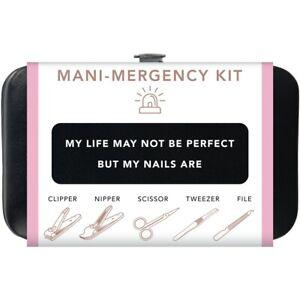 Trim Black Pink Nail Mani Emergency Grooming Kit Clippers Scissor Tweezer File