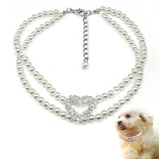 White Pet Dog Pearl Necklaces Crystal Heart Pendant Adjustable Dog Collar Yorkie