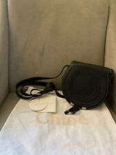 Chloe Black Leather Mini Marcie Saddle Crossbody Handbag