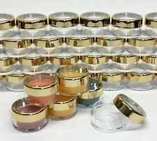25 Cosmetic Jars Empty Beauty Makeup Containers Gold Acrylic Lids 10 Gram #3012
