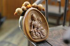 Wood Carving Chinese Mahasthamaprapta Kwan Yin Buddha Statue Pendant Key Chain