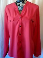 Laura Scott Womens Top Size L Salmon Pink Button Front Long Roll Tab Sleeve