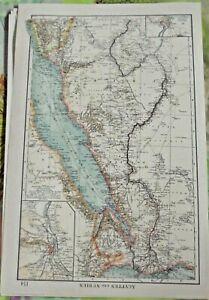 Old map Weltkarte Ägypten un Nubien Kairo Halbinsel Wüste Khartum Hedjas