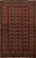 Geometric Nomad Balouch Hand-knotted Area Rug Tribal Oriental Foyer Carpet 3x4