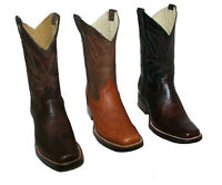 Men's Genuine Bull Shoulder Leather Cowboy Western Square Toe Rodeo Boots ~~