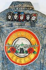 Guns n roses, Kiss, Def Leppard, Mens Denim Patched Studded Jacket Size L