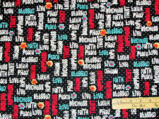 Love Hope Pray Blessed Faith Religious Fabric by the 1/2 Yard  #23490 - J Black
