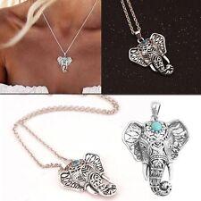 Vintage Boho Elephant Turquoise Pendant Sweater Long Chain Necklace Jewelry
