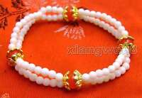 """SALE Beautiful! white 4mm coral & 8mm round red jade 2 strands 7.5"""" bracelet-287"""