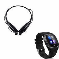 Bluetooth Smart Wrist Watch Earphone for IOS Android iPhone Samsung HTC Huawei Black