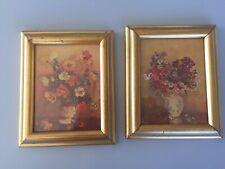 2 Vintage Wooden gold tone Picture Frames Original Art Floral Mid Century Decor