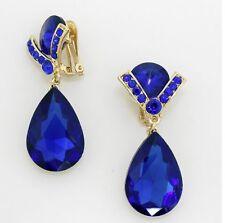 "2.25""  Long Rhinestone Royal Blue Gold Pageant Wedding Crystal Earrings Clip On"