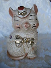 Beautiful Regal Cat Cookie Jar with Gold Decoration Like Shawnee Puss n' Boots