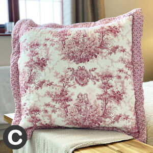 Luxury Pure Cotton Pink 55cm Square Cushion Cover Quilted French Toile Floral